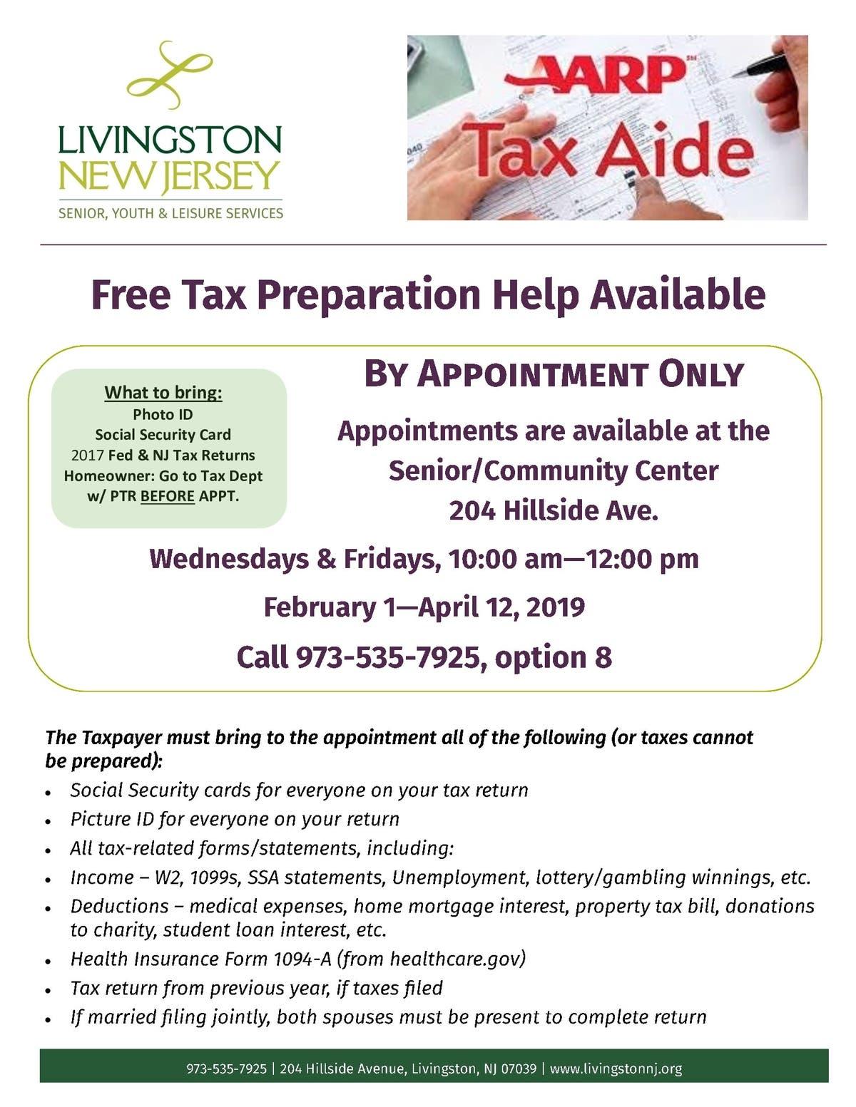 Free Tax Prep At Livingston Senior/Community Center For 2019