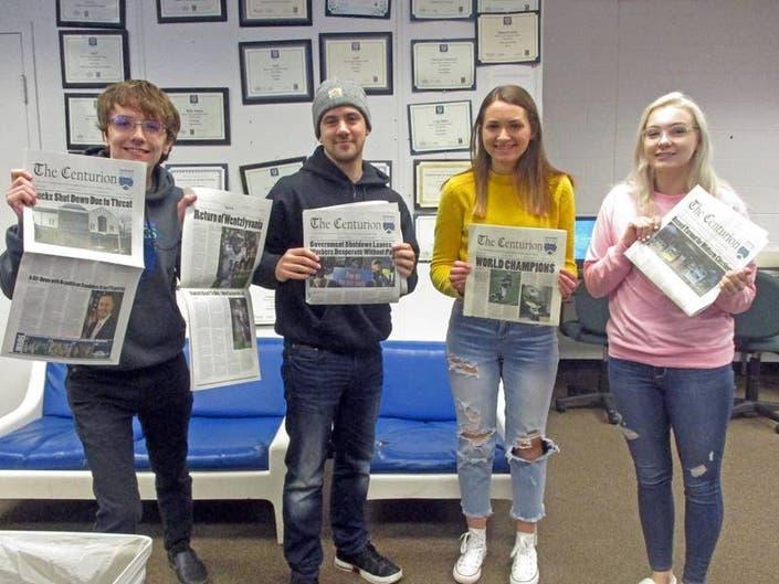 Student writers Francis Klingenberg, Matthew Aquino, Sarah Siock, and Keri Marable celebrate their big wins.