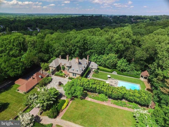$3.7M Montco Mansion With Gardens, Terraces For Entertaining