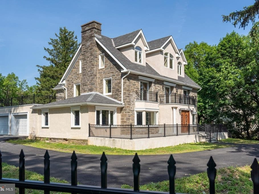 cabrio roof balcony system price 13M Elkins Park Mansion With Expansive Balconies Just
