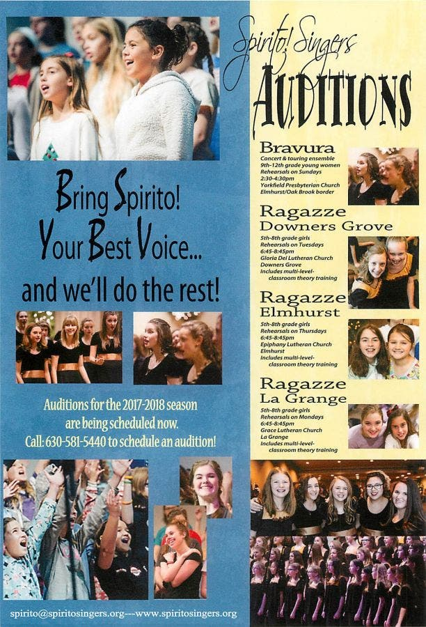 Spirito! Singers Auditions for 2017-2018 Season | Western