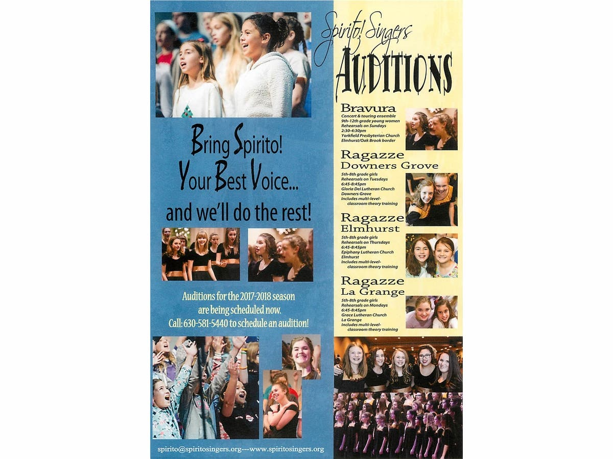Spirito! Singers Holding Auditions for 2017-2018 Season