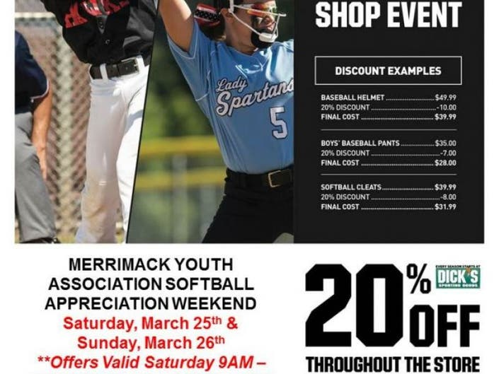 04b06b31446 MYA Softball and DICK S Sporting Goods 20% off Shopping Weekend 3 25 and 3  26!
