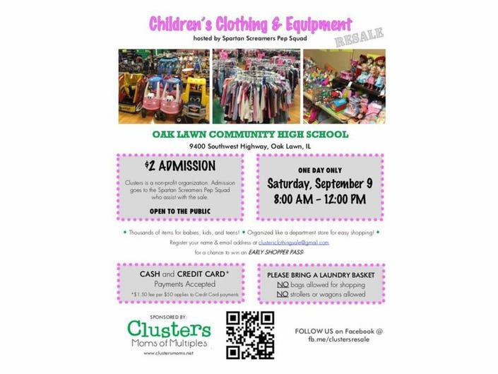 e13dd189c Shop Clusters MOMs RESALE on September 9! Baby and Children's Gently Used  Clothing and Equipment ...