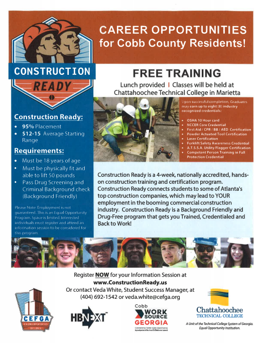 Free Construction Career Training Opportunity For Cobb Residents