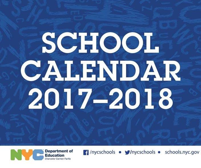 Nyc Doe School Calendar.Nyc 2017 18 School Year Calendar First Day Of School Vacations