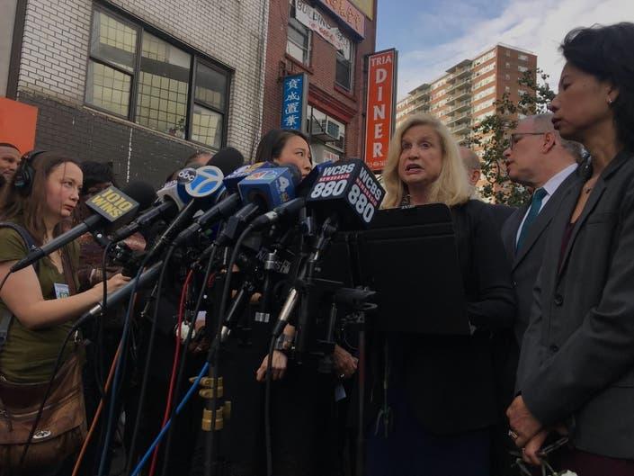 Rep. Carolyn Maloney Nearly Faints At Manhattan Vigil