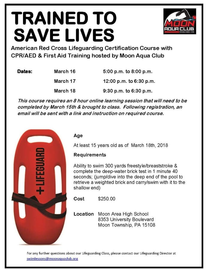 cross american certification lifeguarding course lifeguard patch flyer dates march
