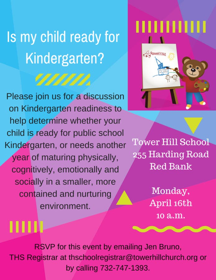 Is Your Child Ready For Kindergarten >> Tower Hill School Hosts Kindergarten Readiness Meeting Red Bank