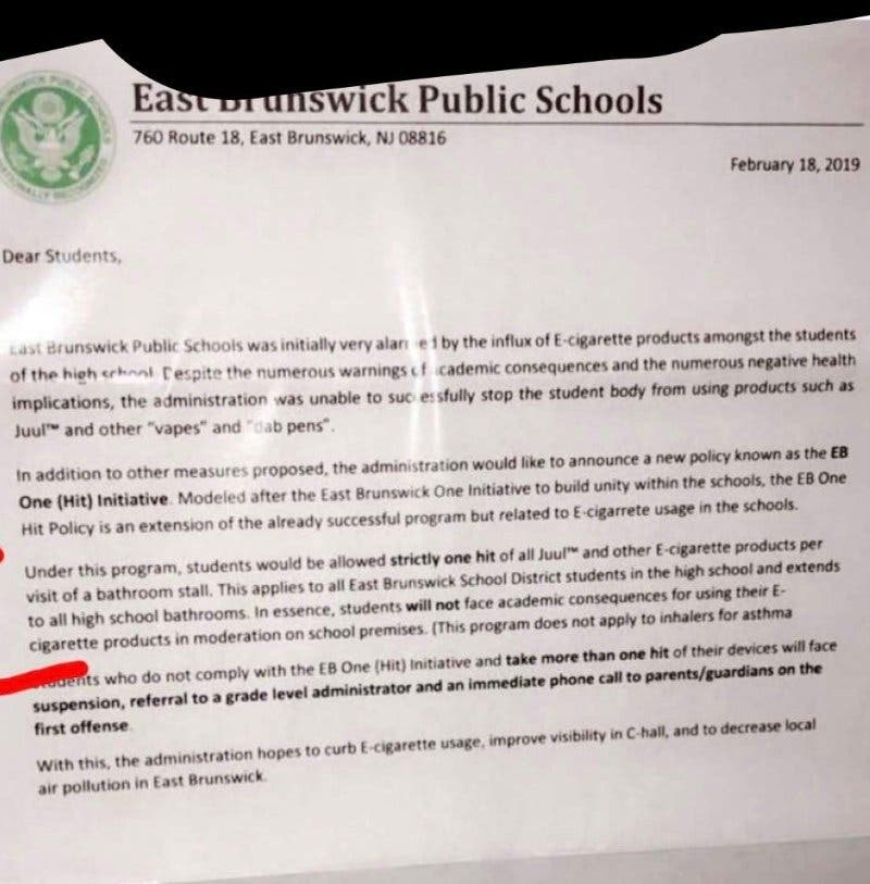 East Brunswick Schools Victim Of Hoax Letter About Vaping | East