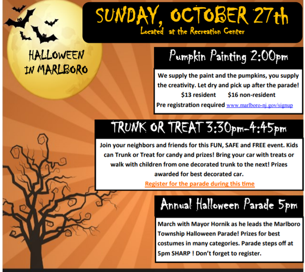 Halloween Trunk Or Treat Marlboro Nj 2020 Marlboro Twp. Trunk Or Treat Is Sunday, Rain Or Shine | Marlboro