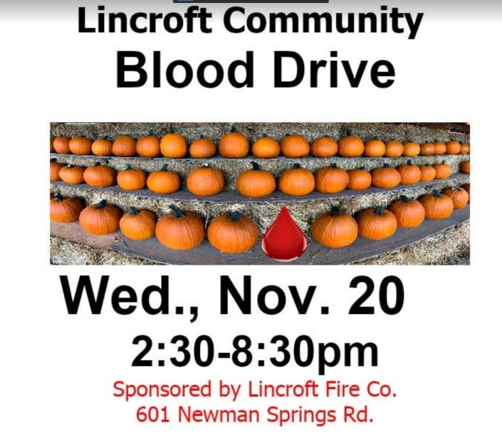 Lincroft Fire Co. Holds Blood Drive Nov. 20