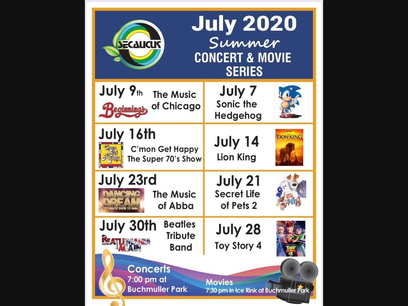 Schedule Of Secaucus' Free Outdoor Movies, Concerts