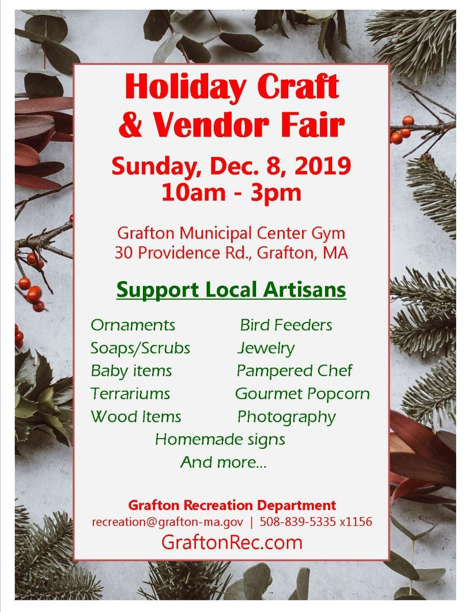 Dec 8 | Holiday Craft & Vendor Fair | Grafton, MA - Patch.com