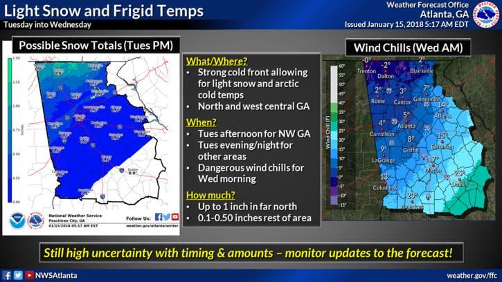 Georgia Weather: Snow, Bitter Cold On The Way | Buckhead, GA