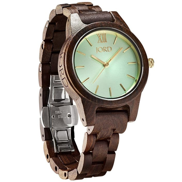 dae1016fa0 JORD Wooden Wrist Watches for Women - Frankie 35mm Series, $179. We're a  little obsessed with the dark sandalwood and mint combination this watch  has going ...