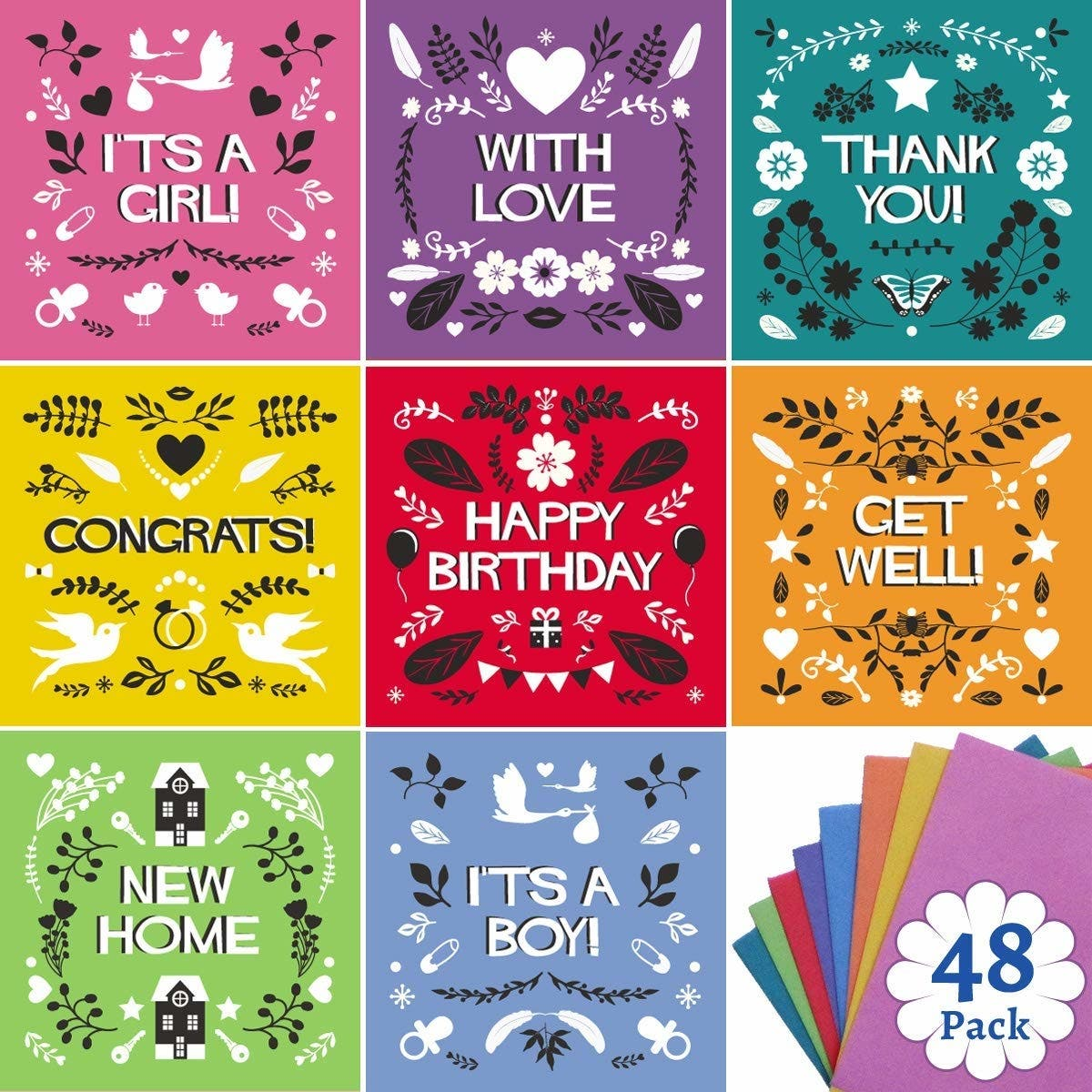 This greeting card set has you covered for every occasion dealtown it contains birthday cards thank you cards congratulatory cards its a boy and its a girl cards get well cards with love cards and even new m4hsunfo