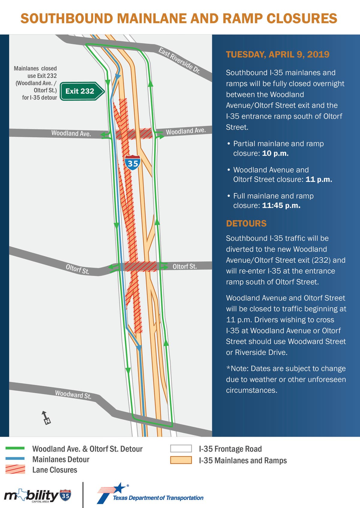 Map Of Texas I 35.Interstate 35 Road Closures For April 6 12 2019 Downtown Austin