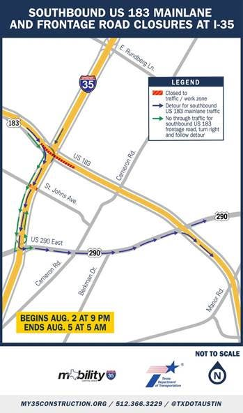 Map Of Texas I 35.Frontage Road Closures Detours Planned At U S 183 I 35 Downtown