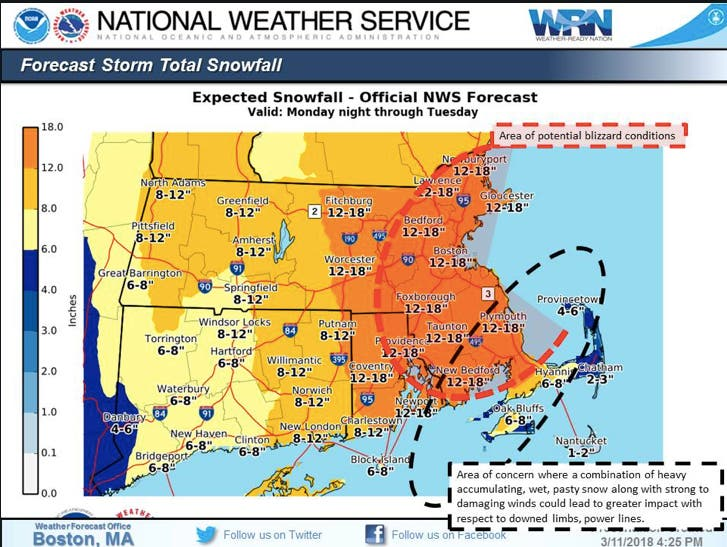 Ma Weather Forecast Snow Totals Increase Drastically Boston Ma Patch