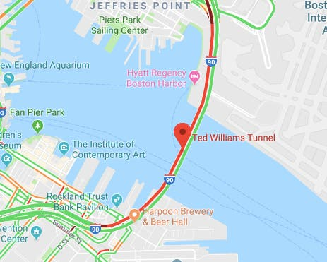 Traffic Map Boston.Crash In Ted Williams Tunnel Backing Up Pike Traffic Boston Ma Patch
