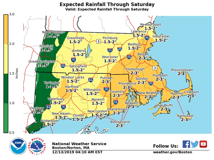 MA Weather: Flood Watch As Heavy Rain Moves In