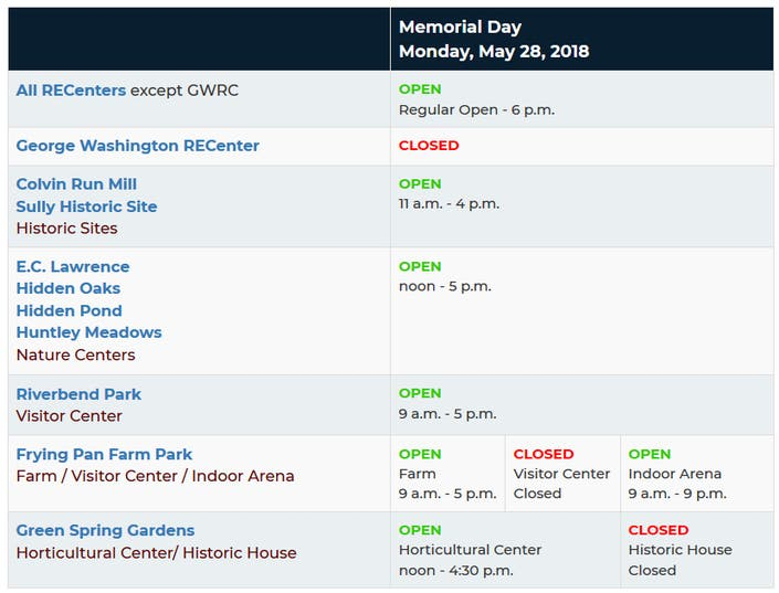 Memorial Day 2018 In Herndon What S Open What S Closed Herndon