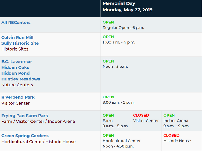 Memorial Day 2019 What S Open Closed In Reston Reston Va Patch