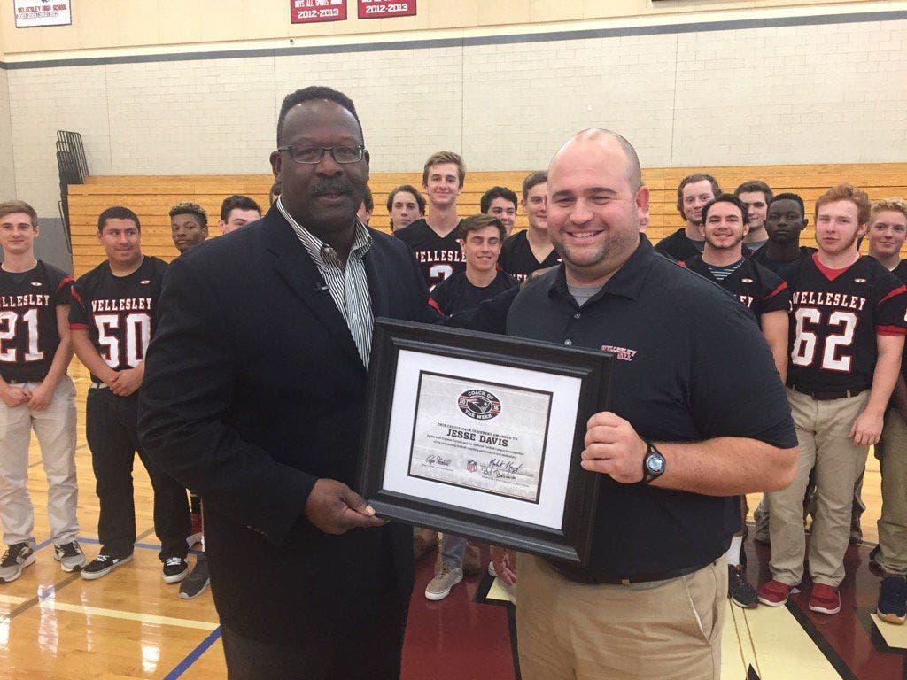 new arrivals c02c3 5c6cd Wellesley High's Jesse Davis Named Patriots Coach of the ...
