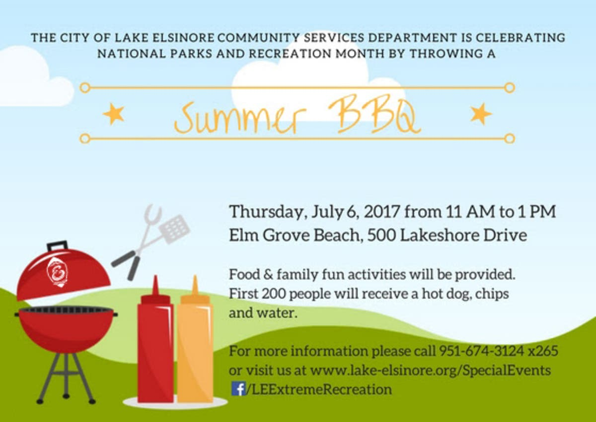 City of Lake Elsinore: Parks and Recreation Summer BBQ | Lake