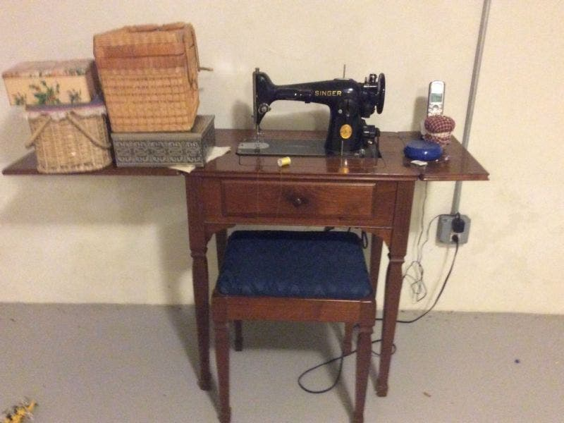 vintage singer sewing machine with cabinet and bench westfield nj rh patch com