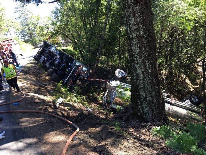 Gas Tanker Overturns, Closing Hwy 29 Between Napa, Lake Counties