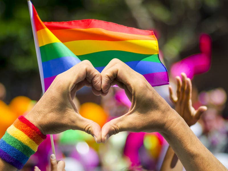 rainbow flag at pride festival