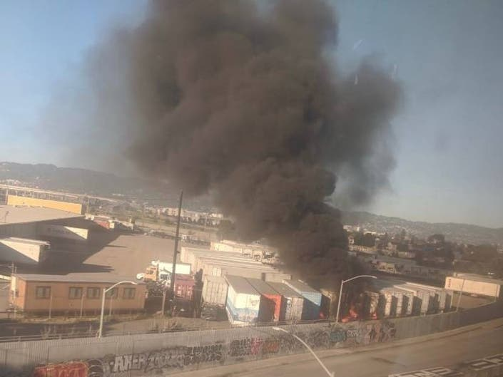 Shipping Containers At Port Of Oakland Burn In Weekend Fire