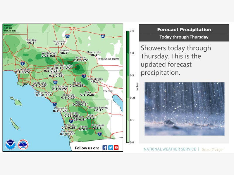 Storm Could Bring Rain, Snow, Thunderstorms To Riverside County