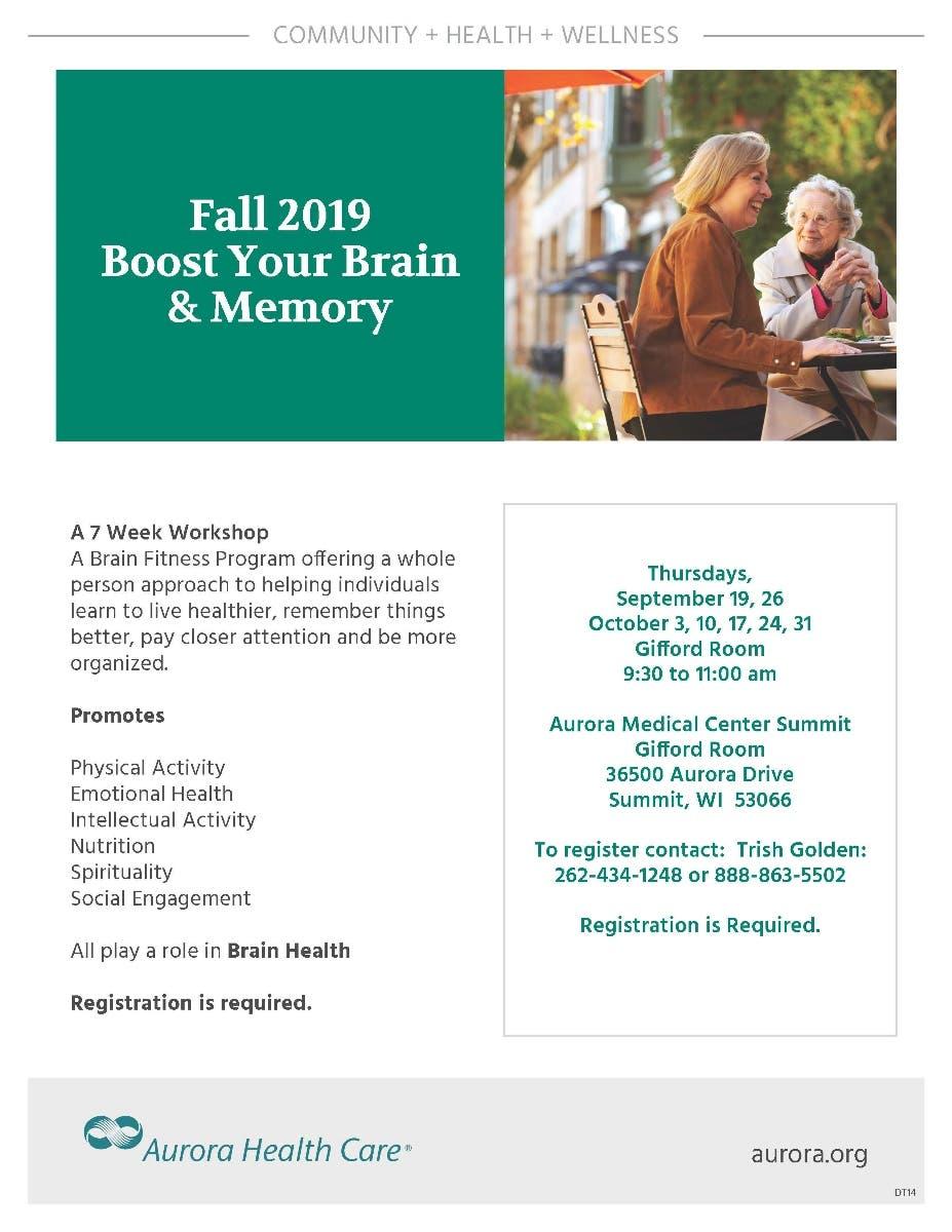 Sep 19   Boost Your Brain & Memory Fall 2019   Waukesha, WI