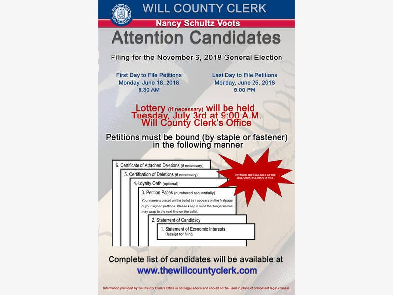 Petition Filing Dates For The November 6 2018 General Election