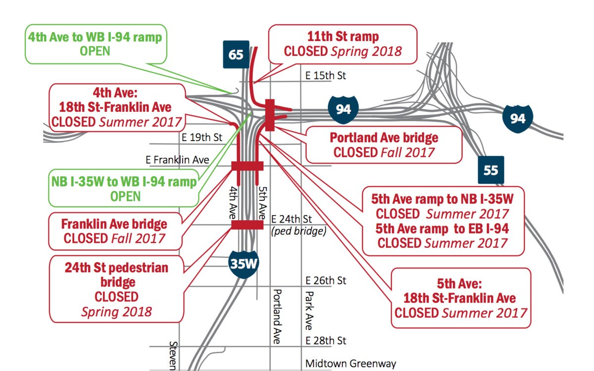 35W-94 Construction: Closures, Detours You Need To Know About