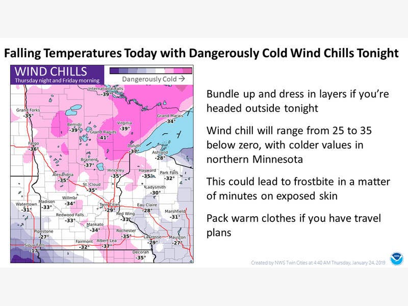 Wind Chills Could Fall To -29 Tonight Overnight