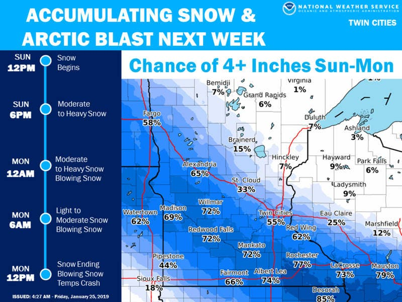 Minnesota Weather: Snowstorm Arrives In Twin Cities Sunday Night