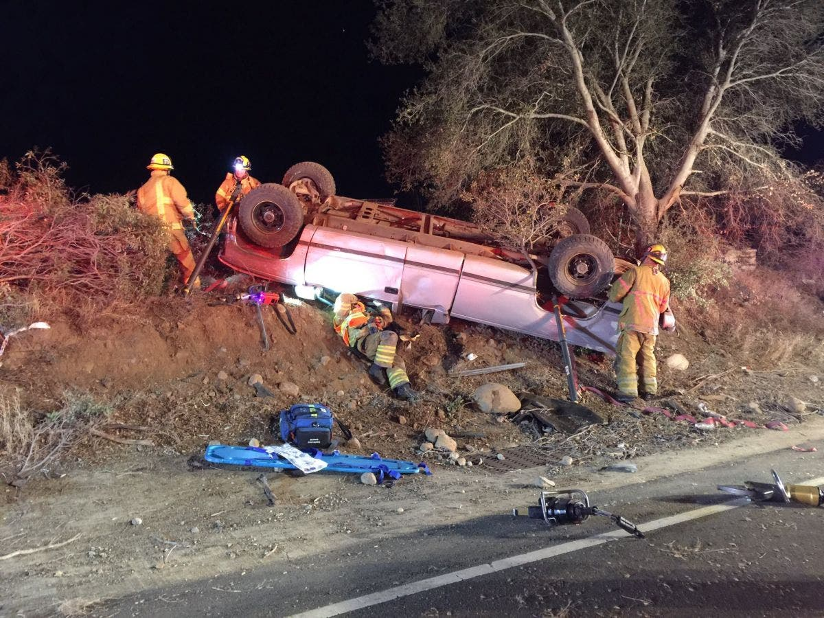 Ortega Highway Rollover: 'Jaws of Life' Used to Save Driver | Rancho