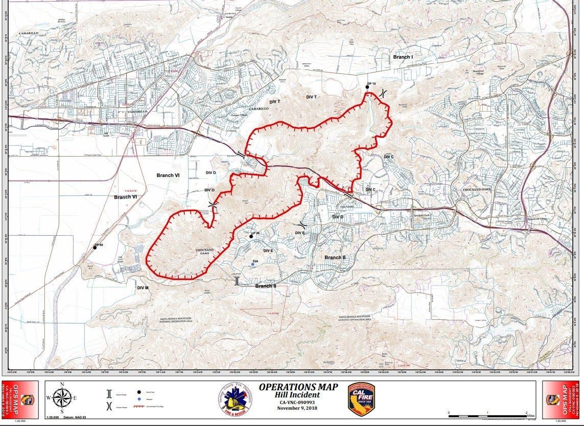 Hill Fire 17k Evacuate Thousand Oaks Ventura Camarillo Map
