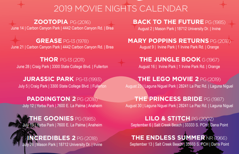 Sunset Cinema Film Series Schedule Released: 2019 | Laguna