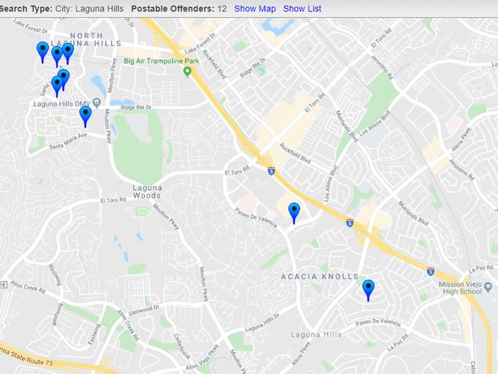 Offenders In Aliso Viejo Halloween Safety Map 2019 ... on map of san simeon ca, map of san andreas ca, map of rancho palos verdes ca, map of san luis obispo county ca, map of thousand palms ca, map of san pablo ca, map of san pedro ca, map of dana point ca, map of santee ca, map of south pasadena ca, map of stinson beach ca, map of stanton ca, map of camp roberts ca, map of fort hunter liggett ca, map of pozo ca, map of san juan capistrano ca, map of northern california ca, map of downey ca, map of san ardo ca, map of new cuyama ca,