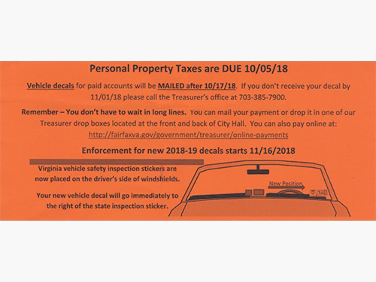 Virginia Car Tax >> Personal Property Taxes Due Oct 5 In Fairfax Fairfax City Va Patch