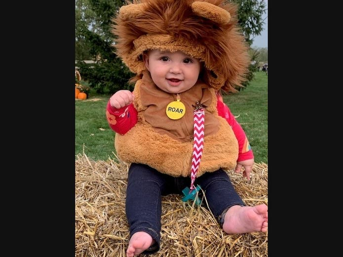 One-year-old Hanna Lubinski won first place in the Cutest Costume portion of the costume contest at the Village's Great Pumpkin Party event.