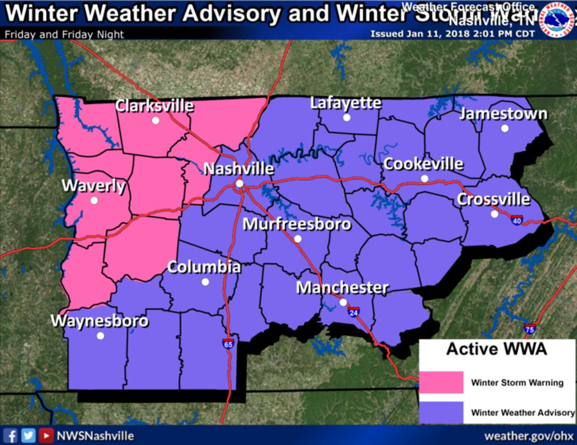 Middle Tennessee Weekend Winter Storm: Snow, Ice Forecast