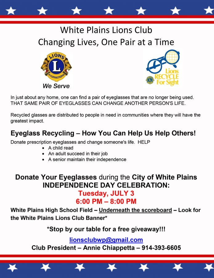 Donate your old eyeglasses to the White Plains Lions Club: July 3 | White  Plains, NY Patch