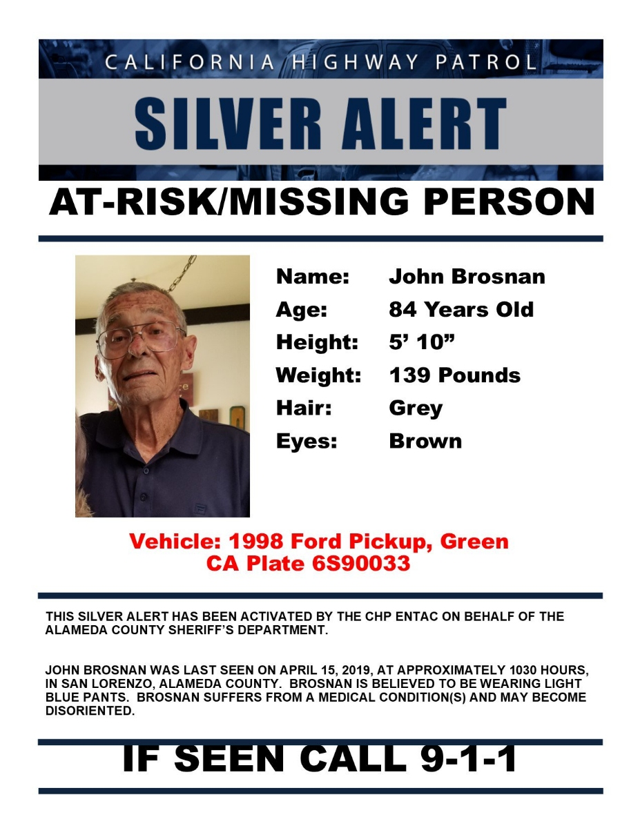 Have You Seen This Missing 80-Year-Old Alameda County Man