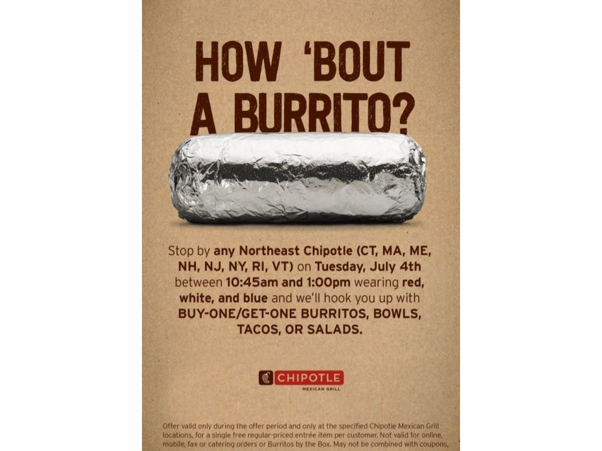ac6db1082 Celebrate 4th of July with BOGO Chipotle in New York! | New York ...